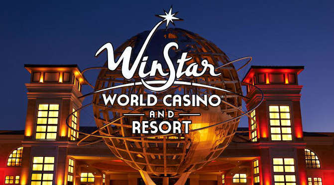 Winnstar Oklahoma's casino lit at dusk. ONe of the best TripAdvisor's casino destinations.