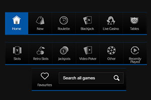 Games and navigation panel.